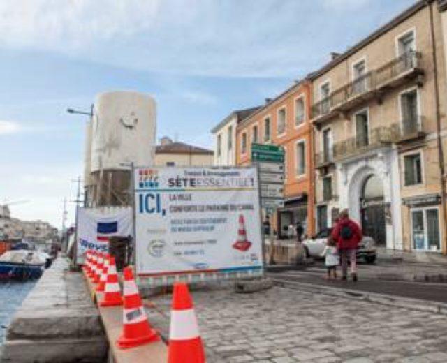 Photo du panneau des travaux de la ville de Sète - Felicitta Parc, stationnements et parking à Sète