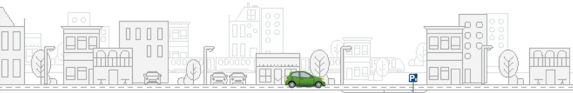Un paysage en dessin avec une voiture verte en premier plan et un panneau de parking - Felicitta Parc, stationnements et parking à Sète
